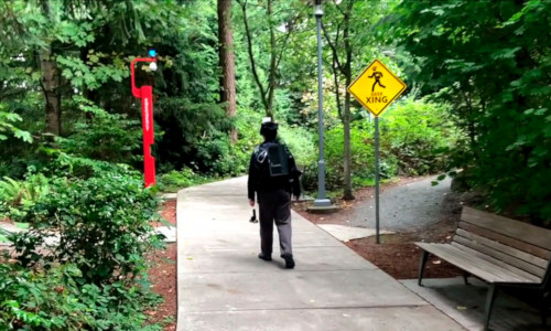 A user traverses a park while wearing a DreamWalker kit